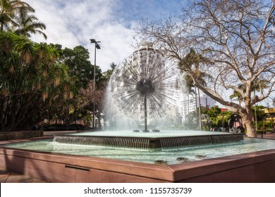Sydney, Australia -August 8, 2018: El Alamein Memorial Fountain is a fountain and war memorial located in Kings Cross, at the entrance to the Fitzroy Gardens, built to honor Australian WWII veterans.