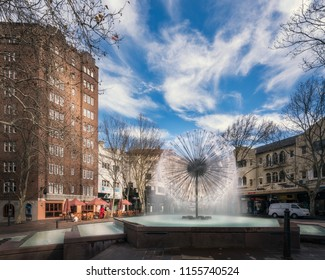 Sydney, Australia -August 8, 2018: The El Alamein Memorial Fountain is a fountain located in Kings Cross. The fountain honors Australian WWII soldiers, featuring an iconic, modernist spherical design.