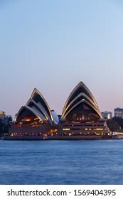 sydney, Australia - Circa 2019 : Sydney Opera House at dusk, viewed from Kirribilli