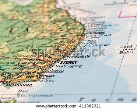 Sydney Australia Map City.Sydney Australia Circa April 2016 Detail Stock Photo Edit Now