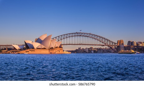 SYDNEY, AUSTRALIA - CIRCA AUGUST 2016: The bay of Sydney with the Opera House and Harbour Bridge, Sydney,Australia