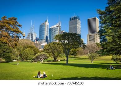 SYDNEY, AUSTRALIA - CIRCA AUGUST 2016: Enjoying a beautiful winter day in the Royal Botanic Garden, Sydney, New South Wales, Australia