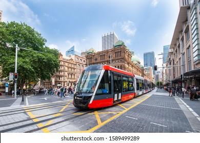 Sydney, Australia - December 14, 2019: Light Rail travels along George Street to Circular Quay, Sydney CBD, New South Wales, Australia.