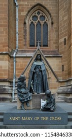 Sydney, Australia - December 15 2017: Statue of St Mary of the Cross at St Mary's Cathedral, the cathedral church of the Roman Catholic Archdiocese of Sydney and the seat of the Archbishop of Sydney.