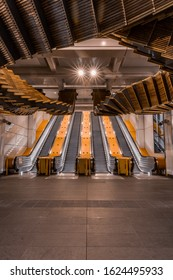 Sydney, Australia, December 22, 2017, Wynyard Station Sculpture made from the old wood from original stair case of escalator.