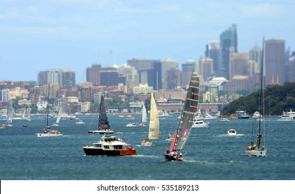 Sydney, Australia - December 26, 2012. Participants yachts in Sydney Harbour before the start. Sydney to Hobart Yacht Race is an annual event, starting in Sydney on Boxing Day and finishing in Hobart.