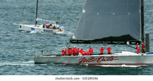 Sydney, Australia - December 26, 2012. Wild Oats IX preparing for the start. Sydney to Hobart Yacht Race is an annual event, starting in Sydney on Boxing Day and finishing in Hobart.