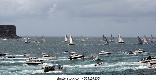 Sydney, Australia - December 26, 2012. Participants yachts reached the Tasman Sea. Sydney to Hobart Yacht Race is an annual event, starting in Sydney on Boxing Day and finishing in Hobart.