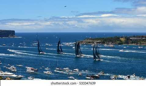 Sydney, Australia - December 26, 2013. Wild Oats leading and approaching North Head. The Sydney to Hobart Yacht Race is an annual event, starting in Sydney on Boxing Day and finishing in Hobart.