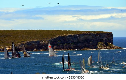 Sydney, Australia - December 26, 2013. Participiant Yachts approaching North Head. The Sydney to Hobart Yacht Race is an annual event, starting in Sydney on Boxing Day and finishing in Hobart.