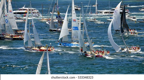 Sydney, Australia - December 26, 2013. Participiant Yachts approaching South Head. The Sydney to Hobart Yacht Race is an annual event, starting in Sydney on Boxing Day and finishing in Hobart.