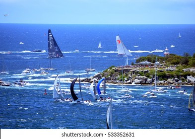 Sydney, Australia - December 26, 2013. Spectators at South Head watching the start. The Sydney to Hobart Yacht Race is an annual event, starting in Sydney on Boxing Day and finishing in Hobart.