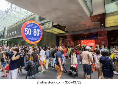 Sydney, Australia - December 26, 2015: Crowd of people at the famous shopping mall around Sydney CBD during the boxing day sales