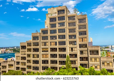 Sydney, Australia - December 26, 2016: Sirius, a brutalist style apartment complex in Sydney - Australia. Built in 1980