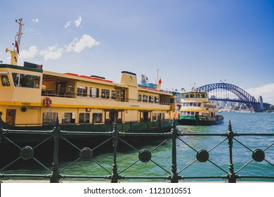 SYDNEY, AUSTRALIA - December 26th, 2014:view of the Sydney Harbour Bridge and ferries on a summer day