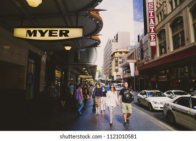 SYDNEY, AUSTRALIA - December 28th, 2014: architecture in the shopping district of Pitt Street in Sydney CBD featuring the Myer entrance