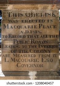 Sydney, Australia - December 30 2017: Plaque at the Obelisk at Macquarie Place. The obelisk was the zero point for the measurement of early roads. It was erected in the early days of colonsation.