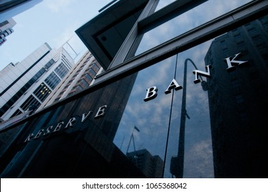 SYDNEY, AUSTRALIA - DECEMBER 6, 2015: Reserve Bank of Australia building name on black stone wall in the center of Sydney. Nobody is in the photo.