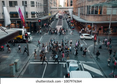 SYDNEY, AUSTRALIA - DECEMBER 7, 2017: People crossing viewed from above.