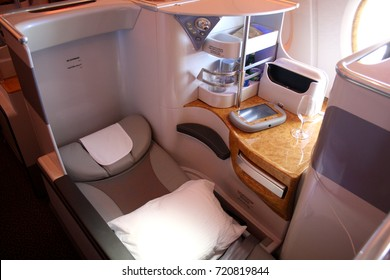 SYDNEY, AUSTRALIA TO DUBAI, UAE FLIGHT – FEBRUARY 28 2015: Emirates Airline flight EK413 prepares to welcome business class passengers on the Airbus A380's upper deck, where fully-flat beds await.