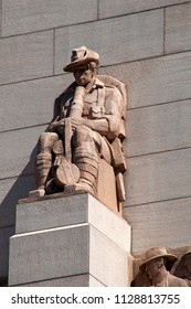 Sydney Australia Feb 14 2018, Serviceman with slouch hat on exterior of ANZAC Memorial adorned  sculptures of service personnel by Rayner Hoff