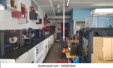 "Sydney, Australia - Feb 2019: View of ""Maker Space"", laboratory facility at The University of New South Wales is an Australian public research university. Facilitated  with 3D printers and others tool"