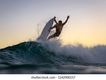 Sydney, Australia - February 06, 2018. Photo of a flying surfer at Bondi Beach.
