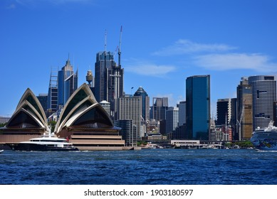 Sydney, Australia - February 11, 2020: View of the iconic Sydney Opera House in sunny day