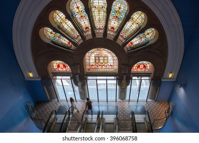 SYDNEY, AUSTRALIA - FEBRUARY 11: Queen Victoria Building on February 11, 2016 in Sydney. Queen Victoria Building is a historic and iconic shopping mall Sydney.