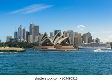 Sydney, Australia - February 19 2017: View of the Sydney Harbor and cityscape.