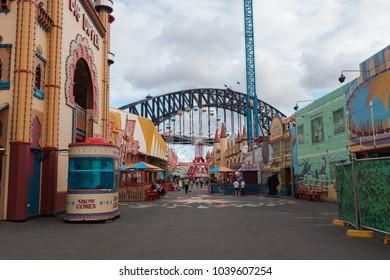 SYDNEY, AUSTRALIA - FEBRUARY 2, 2018: Sydney Harbour Bridge view from inside Luna Park.