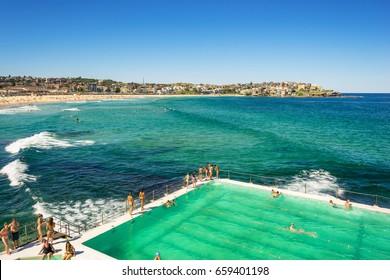 Sydney, Australia - February 20, 2017: View of the Bondi Beach in Sydney Australia