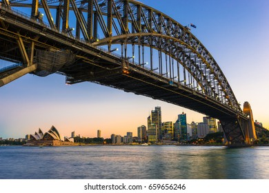 Sydney, Australia - February 20, 2017: View of the Sydney Harbor and cityscape.