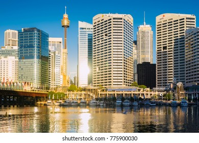 Sydney, Australia - February 20, 2017: View of Pyrmont Bay in Darling Harbour.