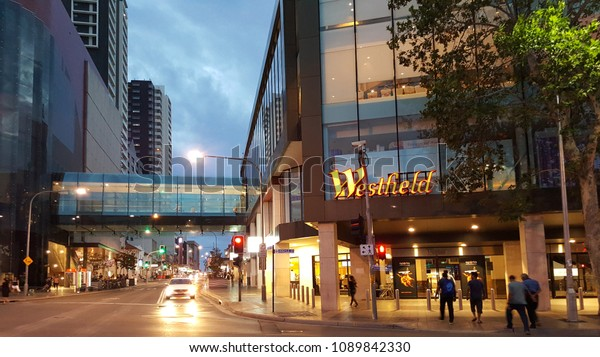 Sydney, Australia - February 2018: Evening view of the Westfield Parramatta mall, trendy bars and Church Street's global eateries serve international communities.
