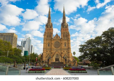 Sydney, Australia - February 21, 2017: View of St.Mary's Cathedral church which is the biggest church in Sydney.