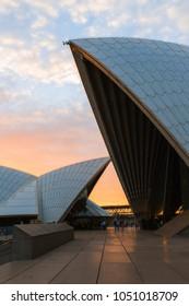 SYDNEY, AUSTRALIA - FEBRUARY 23, 2018: Sunset view at Sydney Opera House.