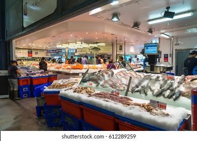 Sydney, Australia - February 24, 2017: Various seafood in Sydney Fish Market, Sydney.