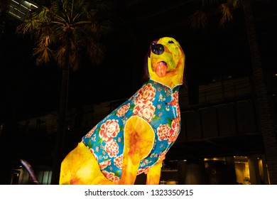 Sydney, Australia - February 4, 2019: Dog lunar lantern at night in Circular Quay.