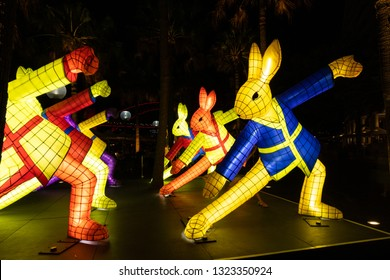 Sydney, Australia - February 4, 2019: Rabbit lunar lantern at night in Circular Quay.