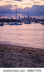 SYDNEY, AUSTRALIA - February 5, 2017: Watsons Bay in Sydney, Australia. Water with Yacht and Cityscape in background