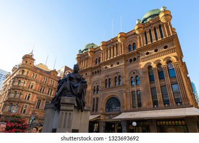 Sydney, Australia - February 7, 2019: Queen Victoria Building front view with statue.