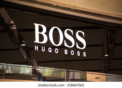 SYDNEY, AUSTRALIA - FEBRUARY 9, 2015: Hugo Boss shop in Sidney, Australia. Hugo Boss is German luxury fashion and style house founded in Metzingen at 1924.