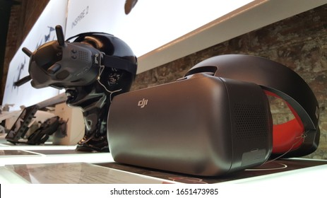 Sydney, Australia - Jan 2020: View of DJI FPV Goggles Racing Edition and FPV Goggles headset displayed in the DJI store. DJI Goggles are comfortably designed for seamless FPV flying with DJI drones.