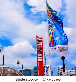 Sydney, Australia - Jan. 27, 2017: Sign and flag, Darling Harbour, Sydney, NSW, Australia