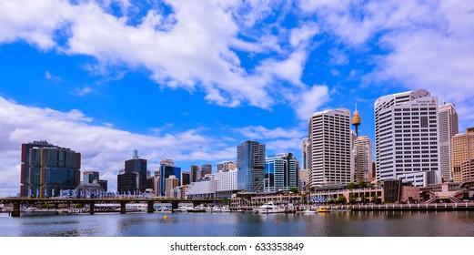 Sydney, Australia - Jan. 27, 2017: Panorama of modern high rises by Darling Harbour, Sydney, NSW, Australia on Jan 27, 2017.