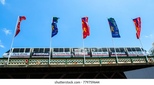 Sydney, Australia - January 07, 2008: The shot of monorail and australia day flags in Sydney.