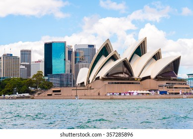 Sydney, Australia - January 11, 2014 : View over Opera House and Central Business District skyline. Sydney is the most populous city in Australia surrounds the world's largest natural harbour.