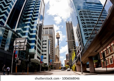 Sydney, Australia - January 12, 2009:  Famous Sydney Tower Eye, known as Westfield Tower,  between skyscrapers at Sydney street.