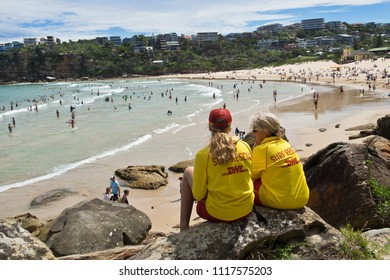 SYDNEY, AUSTRALIA - JANUARY 13, 2018: . Freshwater Beach in Sydney is patrolled by lifeguards making the beautiful beach safe and easy for families